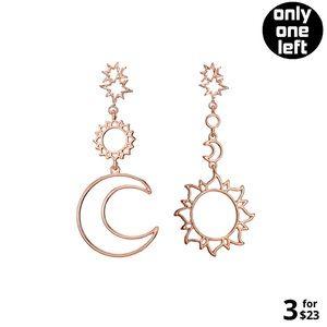 Asymmetrical Hollow Star Sun Moon Drop Earrings